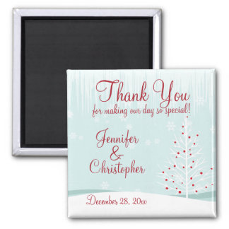 Winter Trees and Snowflakes Wedding Thank You Magnet