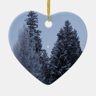 Winter Trees at Dawn Snow Landscape Photography Ceramic Ornament