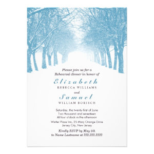 Winter Trees Avenue Rehearsal Dinner Invitation