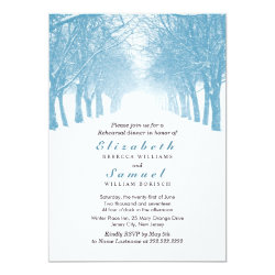 Winter Trees Avenue Rehearsal Dinner Invitation 5