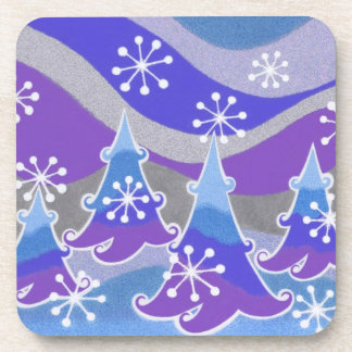 Winter Trees Blue coaster set plastic