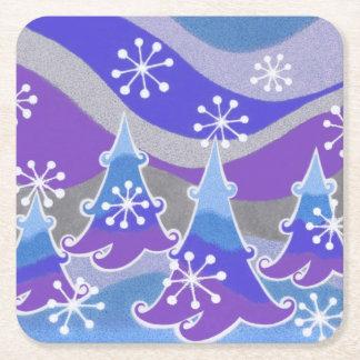 Winter Trees Blue coaster square