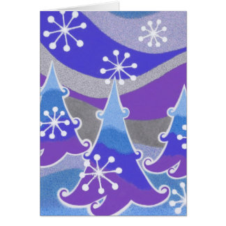 Winter Trees blue 'Happy Holidays' vertical Card
