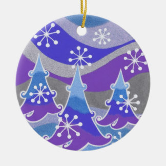 Winter Trees Blue Text ornament round