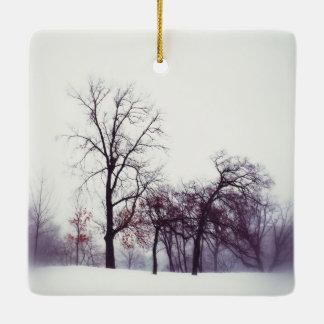 Winter Trees Ceramic Ornament