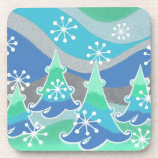 Winter Trees coaster set plastic