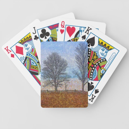 Winter Trees & Farm Fences Pasture Art Bicycle Playing Cards