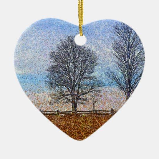 Winter Trees & Farm Fences Pasture Art Ceramic Ornament
