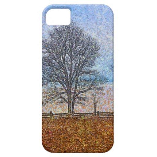 Winter Trees & Farm Fences Pasture Art iPhone 5 Cases