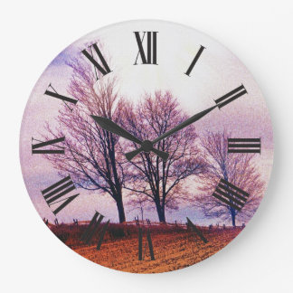 Winter Trees & Farm Fences Pasture Art Large Clock
