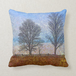 Winter Trees & Farm Fences Pasture Art Throw Pillow