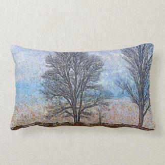 Winter Trees & Farm Fences Pasture Art Pillows