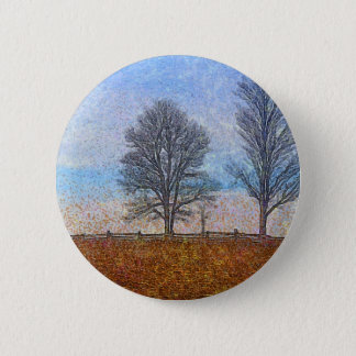 Winter Trees & Farm Fences Pasture Art Pinback Button