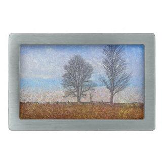 Winter Trees & Farm Fences Pasture Art Rectangular Belt Buckle
