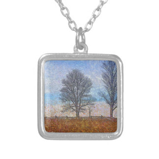 Winter Trees & Farm Fences Pasture Art Silver Plated Necklace