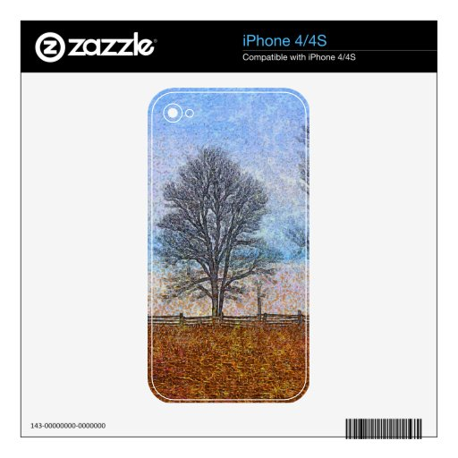 Winter Trees & Farm Fences Pasture Art Decal For The iPhone 4