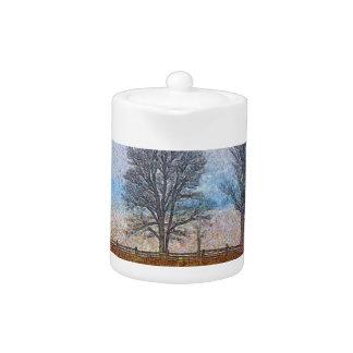 Winter Trees & Farm Fences Pasture Art Teapot