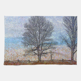 Winter Trees & Farm Fences Pasture Art Towel