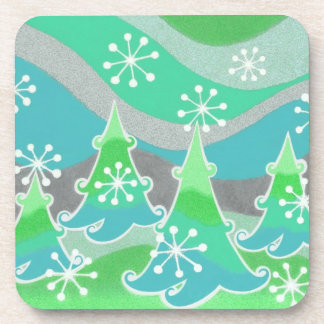 Winter Trees Green coaster set plastic