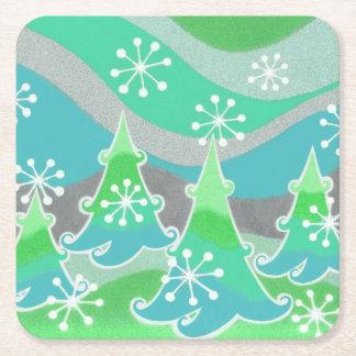 Winter Trees Green coaster square