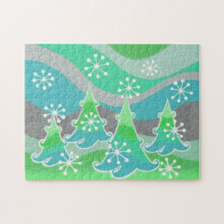 Winter Trees Green jigsaw puzzle