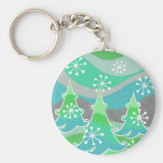 Winter Trees Green keychain