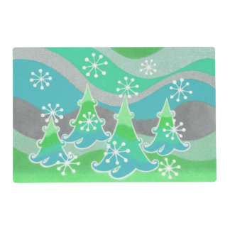 Winter Trees Green placemat