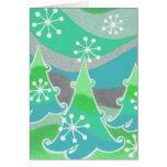 Winter Trees green 'Season's Greetings'  vertical Card