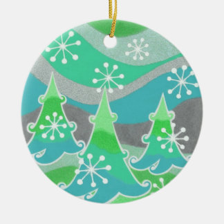 Winter Trees Green Text ornament round