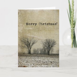 Winter Trees Grunge, Merry Christmas Card
