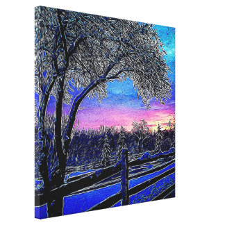 winter trees impressionism sunrise landscape canvas print