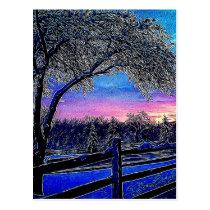 winter trees impressionism sunrise landscape postcard