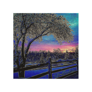 winter trees impressionism sunrise landscape wood wall art