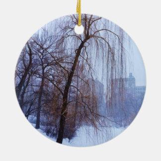 Winter Trees In Central Park Ceramic Ornament