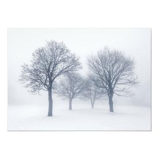 Winter trees in fog card