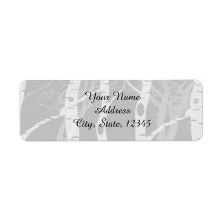 Winter Trees in Grey Wedding Label