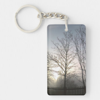 Winter Trees in Morning Mist Keychain