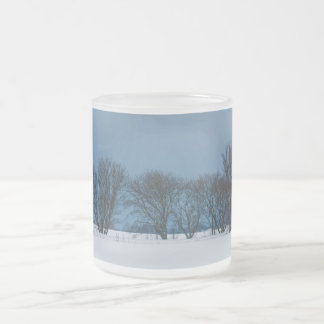 Winter trees in snow frosted glass coffee mug
