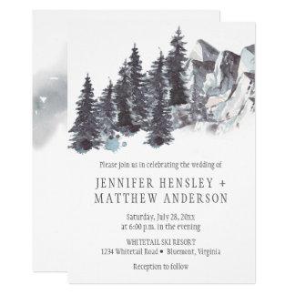Winter Trees Mountains Snow Wedding Invitations