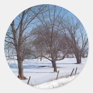 Winter Trees on a Farm in Iowa Classic Round Sticker