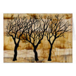 Winter Trees on Tea Bag Background Greeting Card