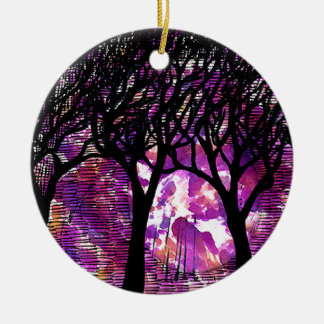 Winter Trees over alcohol ink Background Double-Sided Ceramic Round Christmas Ornament