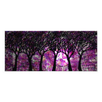 Winter Trees over alcohol ink Background Photo Art
