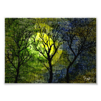 Winter Trees over Watercolor - Green Yellow Photo Print