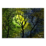 Winter Trees over Watercolor - Green Yellow Photograph