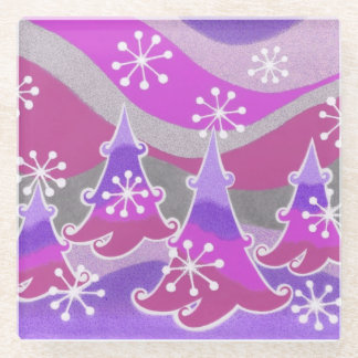 Winter Trees Purple coaster glass