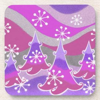 Winter Trees Purple coaster set plastic