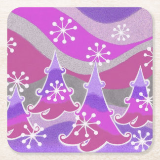 Winter Trees Purple coaster square