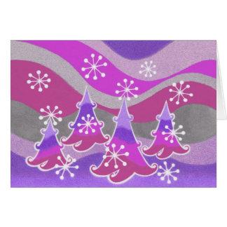 Winter Trees purple greetings card