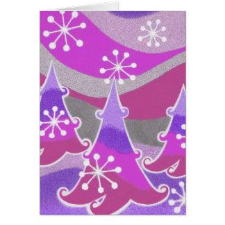 Winter Trees purple greetings card vertical